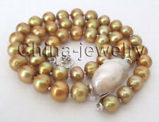 "K8082-17"" 9mm champagne round+ 20mm white Reborn Keshi freshwater pearl necklace"