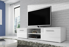 TV Unit Cabinet Stand Lowboard Vegas 150cm Body White Mat / Fronts White Gloss