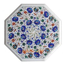"""20"""" White Marble Center Top Lapis Gem Modern Marquetry Coffee Table Decor W151"""