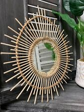 Small Rattan Wooden Mirror Retro Cane Sunburst Eye Vintage Style Wall Hanging