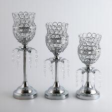 Silber Kristall Kerzenständer Kerzenhalter Teelichthalter Windlichthalter