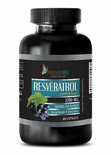 Natural Resveratrol Powder 1200mg Anti-Aging Antioxidant 1 Bottle 60 Capsules