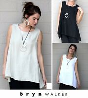 BRYN WALKER Light Linen  LONG TRAPEZE TANK  Top  XS S M L XL  WHITE CREAM BLACK
