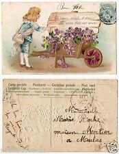 enfant.fleurs.brouette. gaufré.embossed.child.flowers.wheelbarrow.