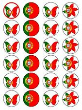 X24 PORTUGUESE / PORTUGAL NATIONAL FLAG CUP CAKE TOPPERS ON EDIBLE RICE PAPER