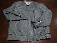 Vtg Womens Leather Cafe Racer Motorcycle Biker Gray Full Zip Coat Jacket Sz L