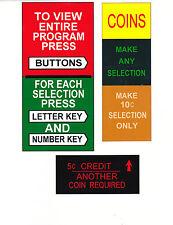 JUKEBOX SEEBURG V200 VL200 CREDIT COINS PROGRAM ECT PLASTIC SET