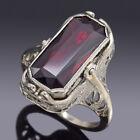 Antique 14K White Gold Garnet, Black Onyx & Diamond Art Deco Flip Ring 4.3 Grams