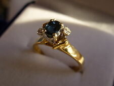 18k 18ct Solid Gold Sapphire and Diamond Ring. 0.32ct Size N-O 3.78g