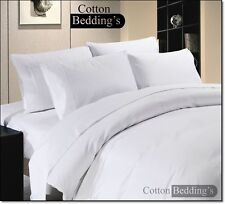 Hotel Quality UK King Size 800 1000 1200 TC 100% Egyptian Cotton White Solid *