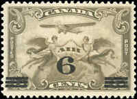 1932 Canada Mint H F-VF Scott #C3 6c on 5c Air Mail Issue Stamp