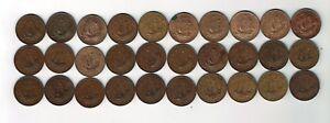 All 30 different George VI half pennies : 1937 - 1967