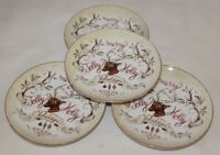 222 Fifth Jolly Holiday Christmas Round Appetizer Plates Set of Four New