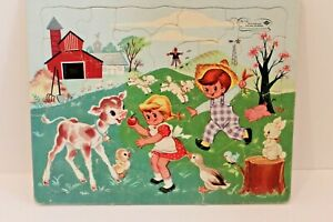 VINTAGE Built Rite No 131 STA-N-PLACE Farm Animals Kids Frame Tray Puzzle