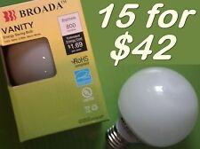 (15x) CFL Vanity Globe Compact Fluorescent Bulbs - 14watt Warm White ~60w Equiv