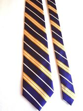 """LANDS' END - NAVY/WHITE/YELLOW STRIPED - SILK NECK TIE - 58""""LONG  3 5/8""""WIDE"""