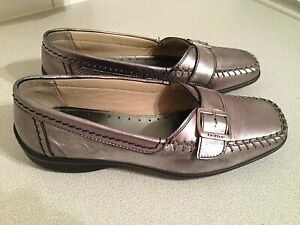 Hotter Flair pewter metallic leather casual slip on shoes UK 4.5 STD EU 37.5
