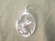 NEW USA 25MM ANTIQUE SILVER OVAL HORSE HEAD FANTASY PENDANT CHARM NECKLACE