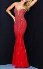 Gold Beads Red Long Prom Dress Lace up Wedding Gown Pageant Gown Size 6,18