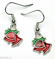 Hand Made Red Christmas Bell Earrings HCE343