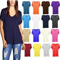 Ladies NEW Loose Baggy V Neck Turn Up Short Sleeve Top T Shirt Blouse Size 8-22