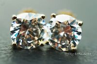 Stud Earrings 4 CT Round Certified D/VVS1 14k Yellow Gold Jewelry *RETAIL $690*