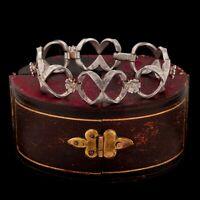 Antique Vintage Art Deco Sterling 800 Silver Geometric Floral Fancy Bracelet