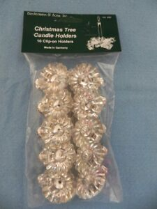 """Candle Holders, Silver Clip On, Set 10, Christmas Tree Clips, holds 1/2"""" dia NEW"""