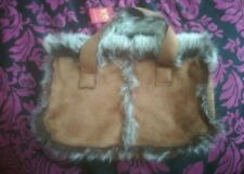Dents Quilted Brown Velvet & Faux Fur Trimmed Bag new lovely gift