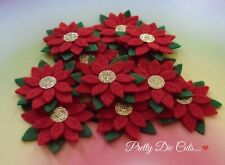Poinsettias, red green gold christmas Felt Craft Flowers (5)