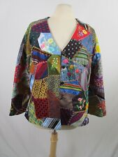 Crazy Quilt Jacket Vintage 60's 70's Hand Pieced Lined Long Sleeve M-L