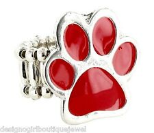 Red Paw Print Ring Dog Cat Silver-tone Fashion Stretch