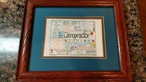 Chiropractor wall sign unique w/ multiple sayings gently used L11.75, H 9.75 in