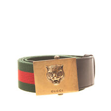 RRP €320 GUCCI Nylon Web Belt Size 95/38 Tiger Head Autogrip Buckle Closure
