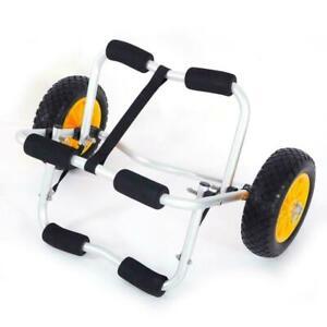 Bend Kayak Canoe Boat Carrier Dolly Trailer Trolley Transport Cart Wheel Yellow