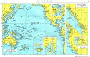 PACIFIC.Spencer S Vincent Tasmania Bering British Columbia Puget river 1971 map