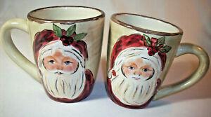 Tabletops Unlimited: Handpainted SANTA: 2 Christmas Mugs: EXC: NR