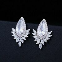 4Ct Marquise Cut Diamond Beautiful Halo Stud Earrings 14K White Gold Finish