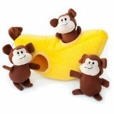 ZippyPaws Burrow Monkey 'n Banana Squeaky Hide and Seek Plush Dogs Toy