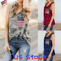 Womens Summer Camo American Flag Print Vest Ladies Independence Day Tank Tops US