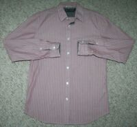 DKNY Jeans Dress Shirt Button Up Long Sleeve Small Cotton Red White Striped Work