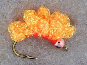 BH Orange Crystal Meth Steelhead Salmon trout sucker spawn fly fishing Bead head