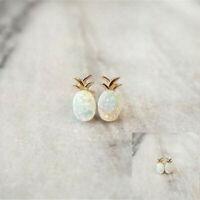925 Gold Plated Pineapple Fire Opal Ear Stud Earrings Women Wedding Jewelry