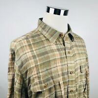 Polo Ralph Lauren 2XL 100% Linen Shirt Beige Green Plaid Casual Recent Label