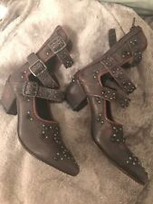 FREE PEOPLE HARVEST MOON STUDDED LEATHER ANKLE BOOTS EU 38 Reduce