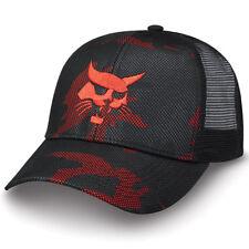 Bobcat Black Mesh Overlay Red and Black Camo Cap Logo Men's Adjustable 250956