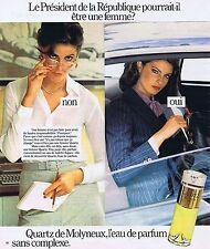 PUBLICITE ADVERTISING 114 1977 QUARTZ de MOLYNEUX eau de parfum