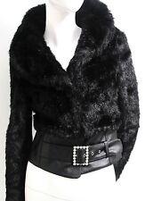 Sirens Women's Jacket Coat Faux Fur Mink Short Rhinestone Buckle Size S