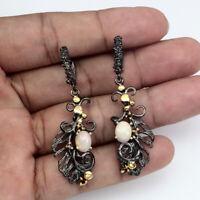 Handmade Oval Fire Opal 8x6mm Rhodolite Garnet 925 Sterling Silver Earrings