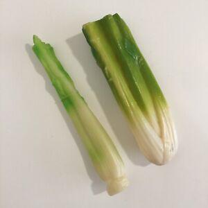 Realistic Fake Faux Food Play Food Hard Plastic Celery Stalks Lot of 2